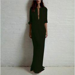Dolga obleka-srajca - 3 barve Črna - velikost 6