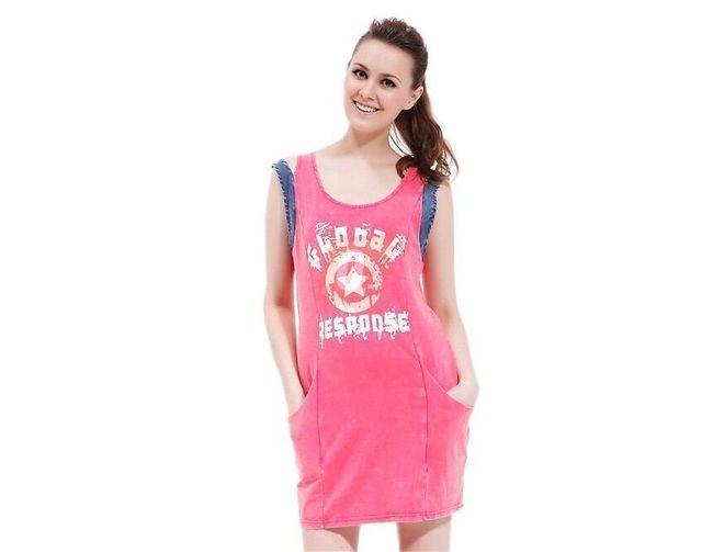 Dámské růžové šaty s kulatým výstřihem - vel. L 1