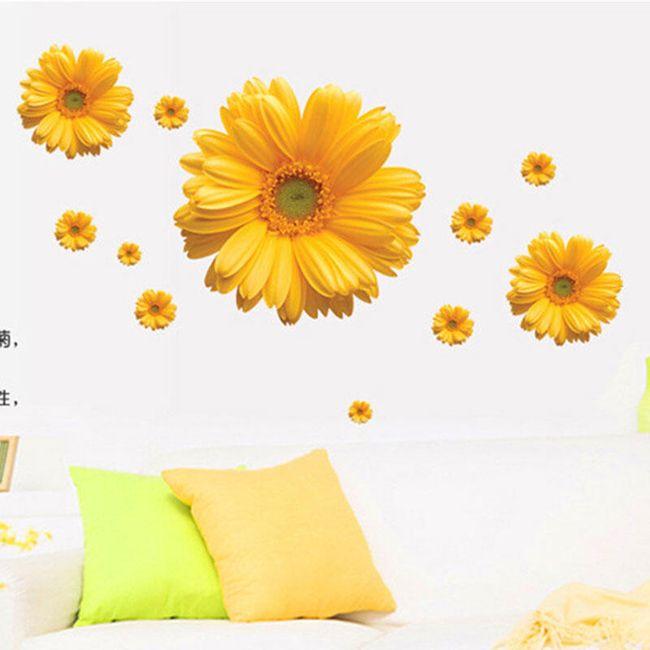 Samolepka na zeď - žlutá chryzantéma 1