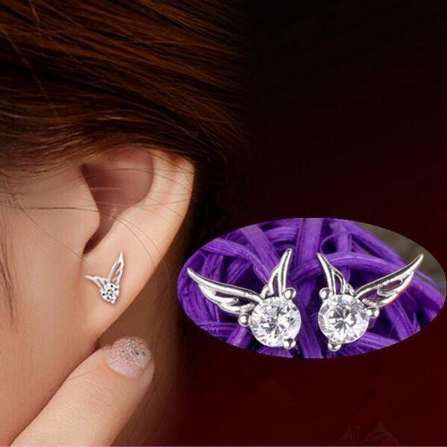 Angyalszárnyak kővel - ezüst színű fülbevaló 1
