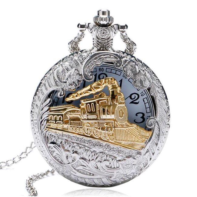 Retro kapesní hodinky s motivem lokomotivy 1