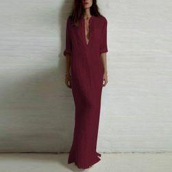 Dlhé košeľové šaty - 3 farby Bordová - veľkosť 6