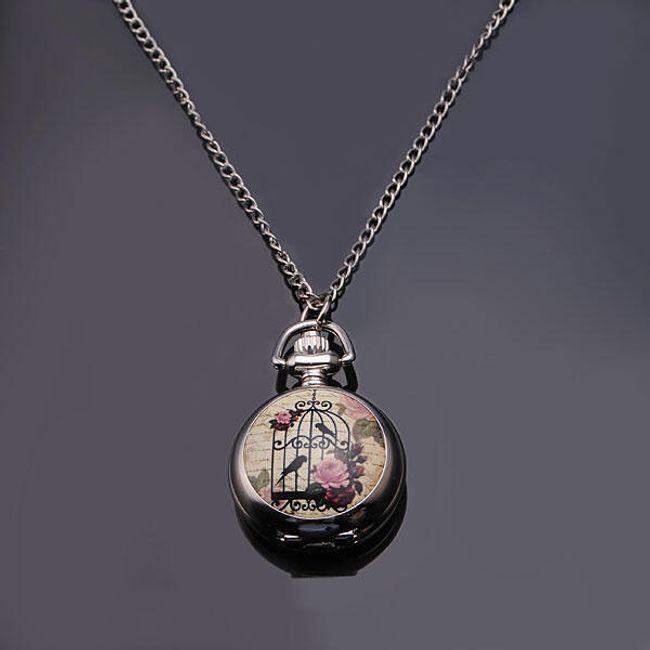 Zegarek na łańcuszku z obrazkiem ptaka  w klatce 1