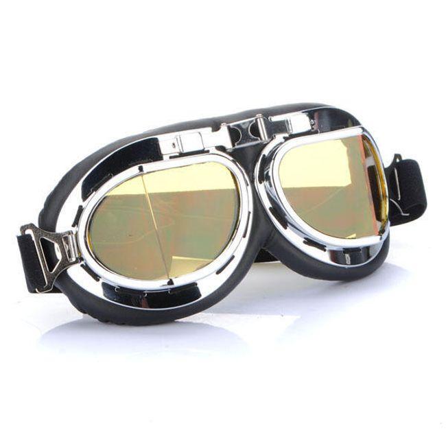 Motoros szemüveg ezüst - sárga üveg 1