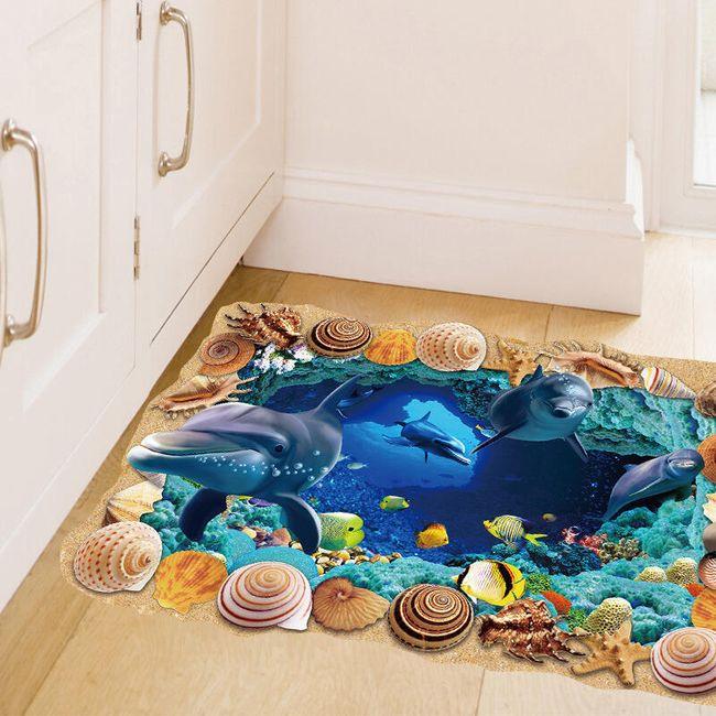 3D nalepka za tla - morska jama 1