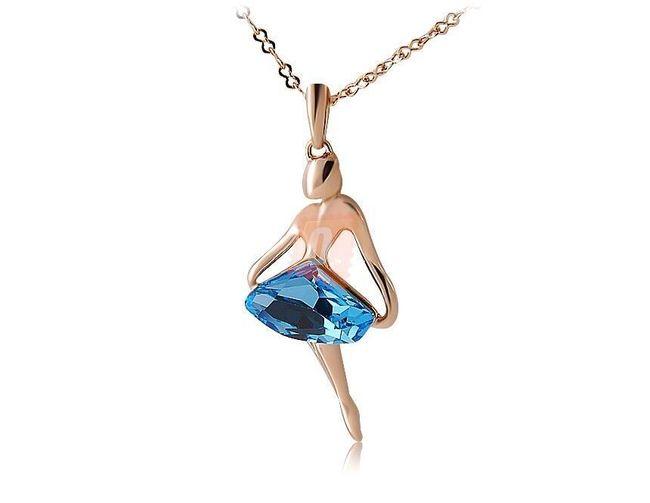Náhrdelník s dívkou s modrým kamenem - zlatá barva 1