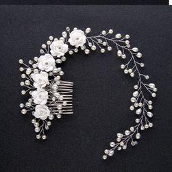 Opaska na głowę - białe róże i perły