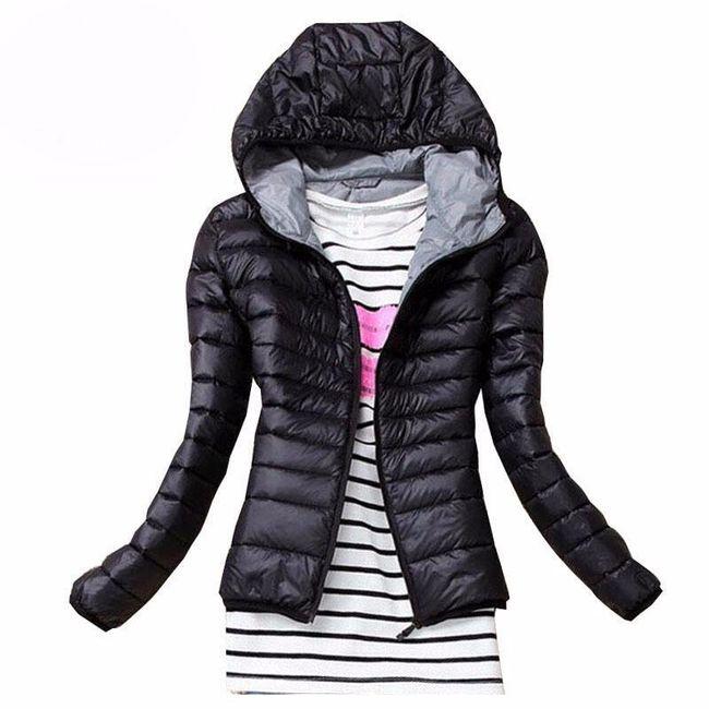 Dámská podzimní prošívaná bunda s kapucí - černá, velikost S 1