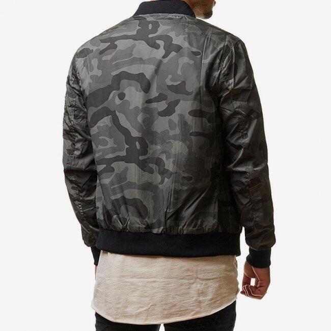 Pánská bunda s maskáčovým vzorem - Šedá - velikost č. 4 1