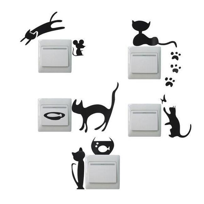 Nalepke za stikala v izvedbi mačke 1