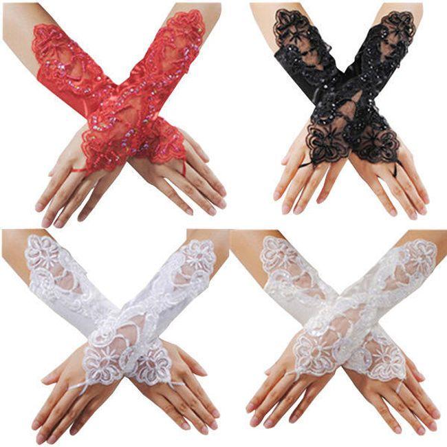 Saténovo-krajkové plesové rukavičky ve 4 barvách 1