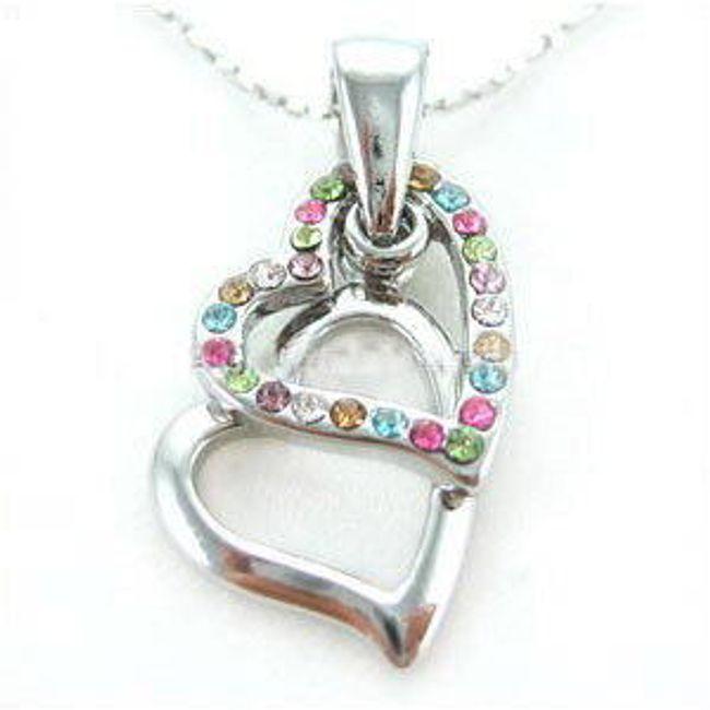 Náhrdelník se dvěma srdci ozdobený kamínky  1
