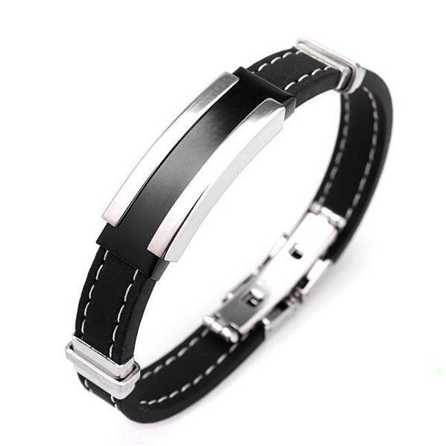 Bransoletka dla mężczyzn - kolor: czarno - srebrny 1