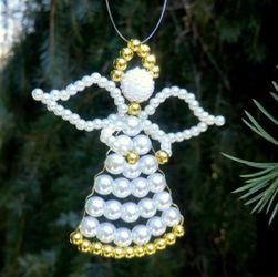 Fehér / arany angyal - karácsony (6 cm)