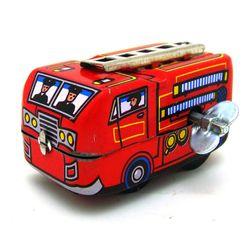 Ретро играчка с навиващ се механизъм - пожарникарски автобил
