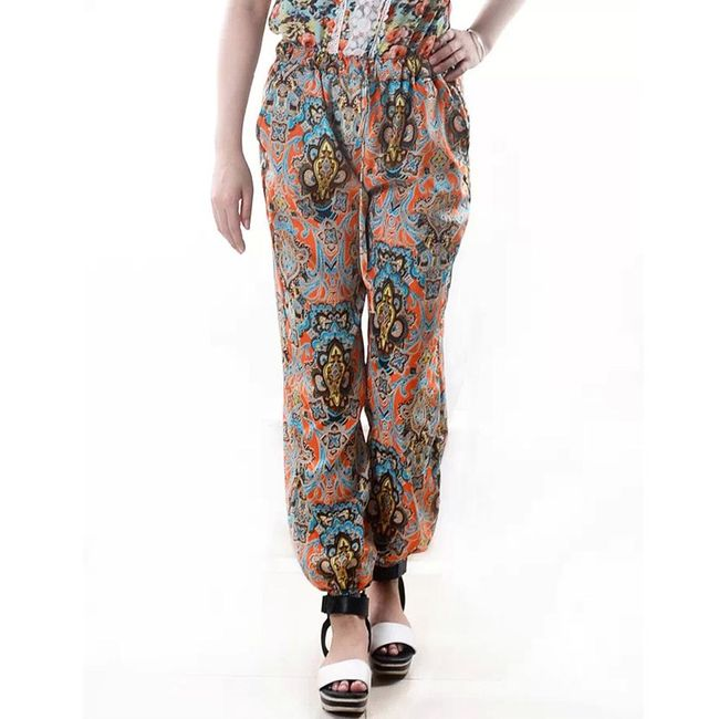 Harémové květinové kalhoty - 2 varianty 1