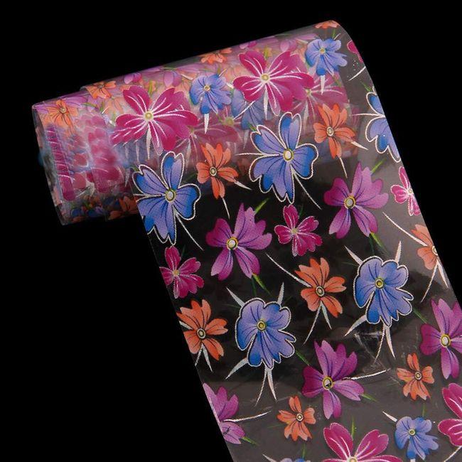 Fólie na nehty s květinami 1