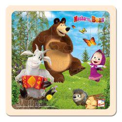 Máša a Medvěd puzzle s kozlíkem 20x20cm RS_16114
