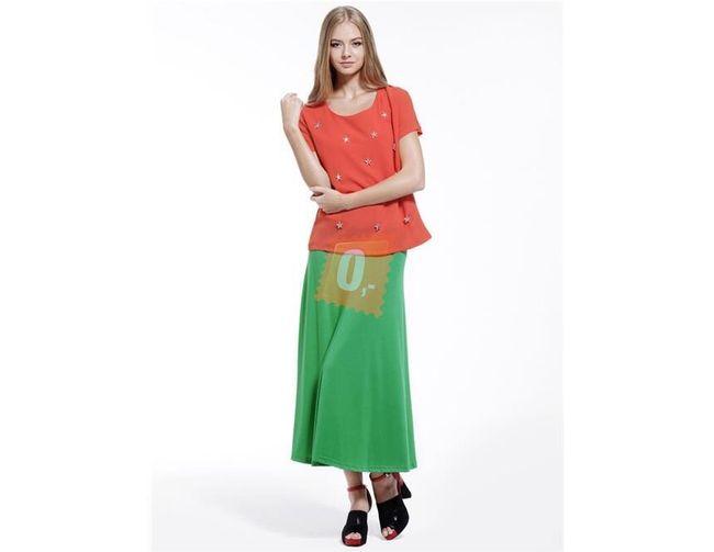Dámská bavlněná dlouhá sukně - zelená 1
