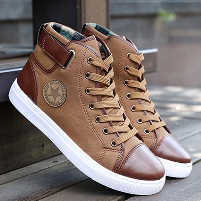 Pánské koženkové boty - Khaki-7.5 1