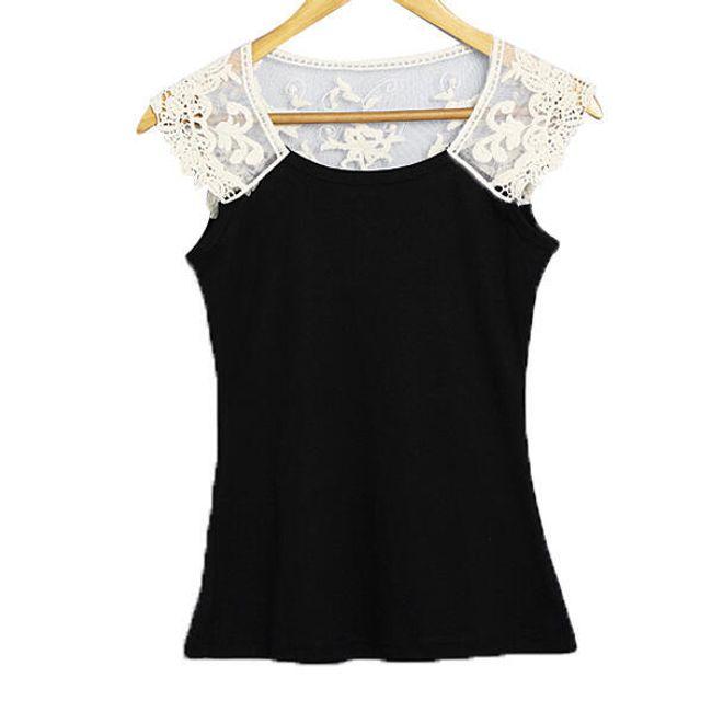 Dámské tričko černé zdobené bílou krajkou 1