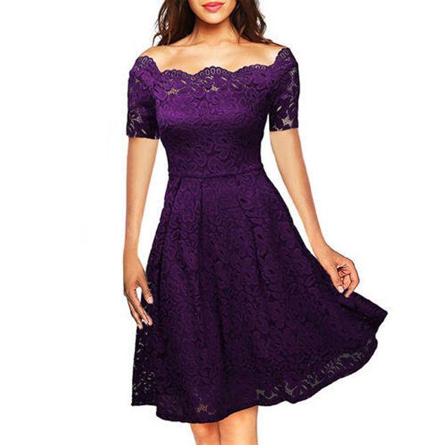Společenské krajkové šaty - Fialová2-velikost č. 2 1