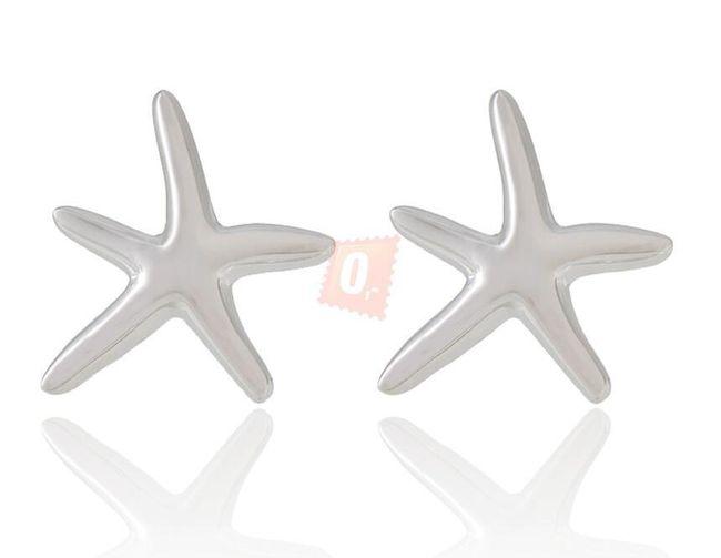 Kovové náušnice tvaru hvězdičky - stříbrná barva 1