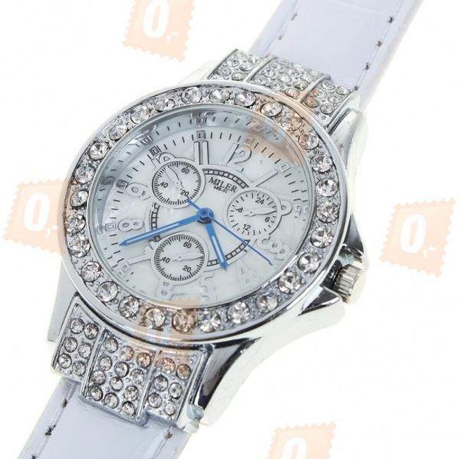 Dámské hodinky s třpytivými kamínky - bílý pásek 1