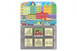 Pečiatky 5 + 1 s poduškou 4,5x4,5cm drevená na karte RM_91018610
