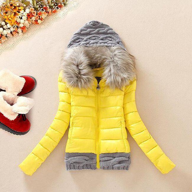 Dámská bunda s pletenými detaily - Žlutá - velikost č. 3 1