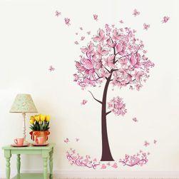 Стикер за стена - дърво с розови листа