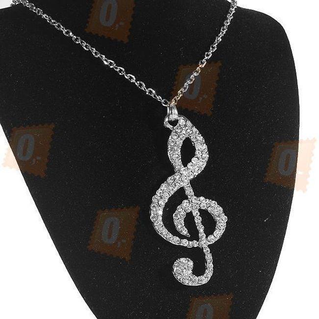 Wielki klucz wiolinowyozdobiony kamyczkami na srebrnym łańcuszku 1