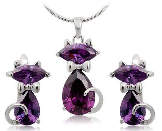 Sada šperků s fialovou kočičkou  1