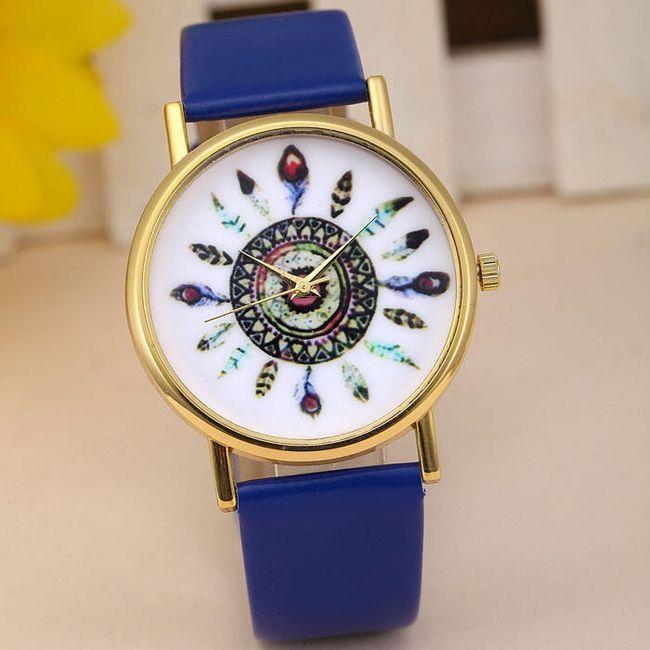 Dámské hodinky s indiánskými motivy v mnoha barvách - Tmavě modrá 1