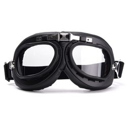 Retro motoros szemüveg fekete színű