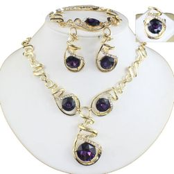Sada spirálovitých šperků s fialovým kamínkem