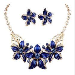 Dámsky elegantný náhrdelník s náušnicami v kvetinovom vzore - 4 farby