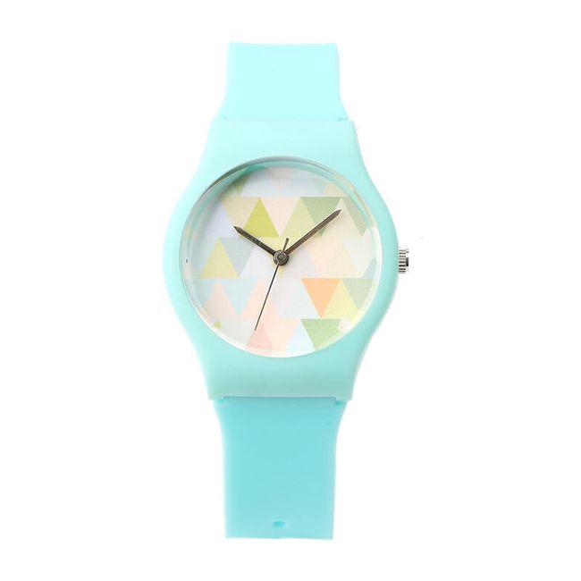 Dámské hodinky s trojúhelníčky v modré barvě 1
