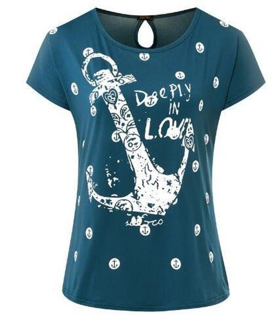 Dámské námořnické tričko - Zelenomodrá - 3 1