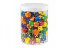 Hracie kocky farebné drevo spoločenská hra 16mm 150 ks v plastovej dóze RM_33113782