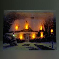 Živý bezrámový obraz - dům v zimě