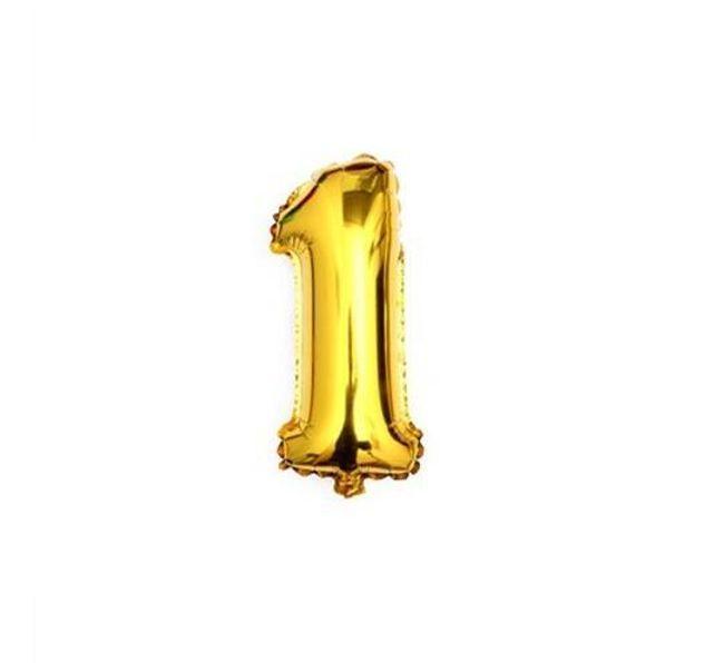 Baloni na naduvavanje u obliku brojeva - zlatna/srebrna boja 1