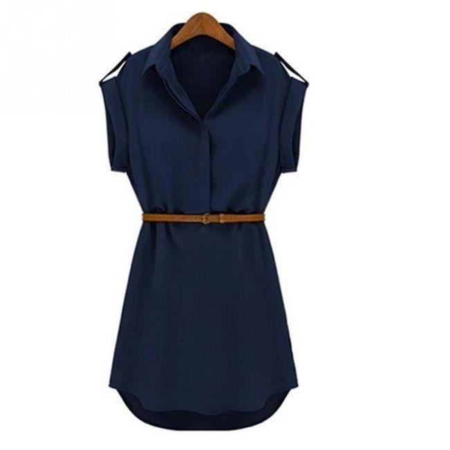 Košilové dámské šaty - Modrá_velikost č. 4 1