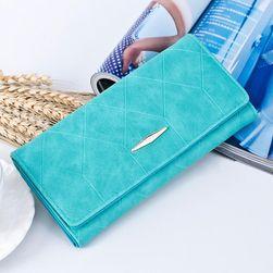 Női trendi pénztárca türkizkék színben