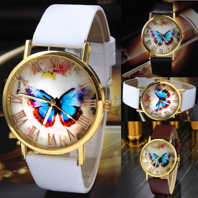 Ceas de damă cu fluture albastru 1