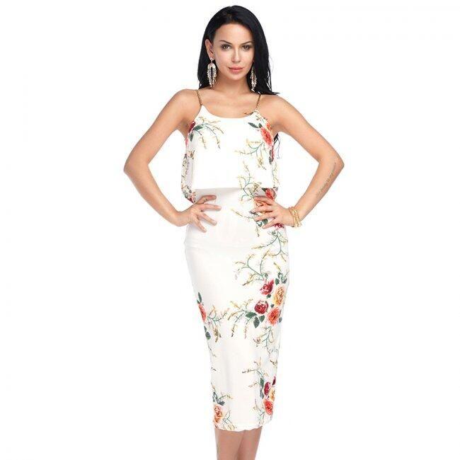 Letní květované šaty s volánkem - Bílá 1