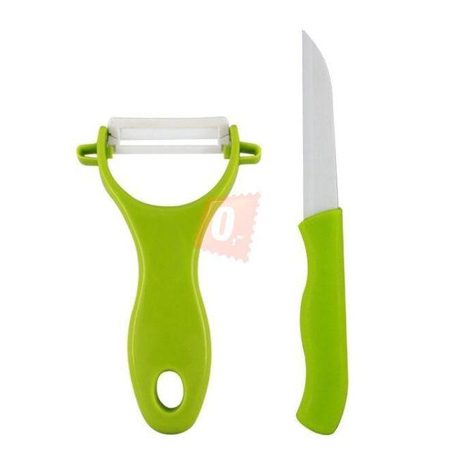 Keramický nůž čepel 76mm na ovoce a zeleninu + škrabka zelená barva 1