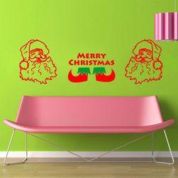 Samolepka na zeď - Merry Christmas s hlavou Santa Clause