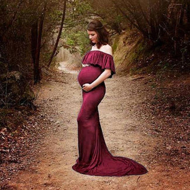 Hosszú  pánt nélküli anyasági ruha