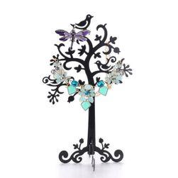 Stojak na biżuterię metalową - drzewo z ptakami